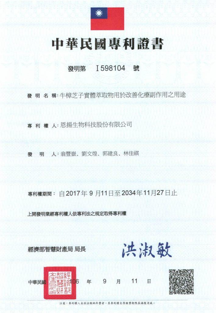 台灣功效專利 化療輔助