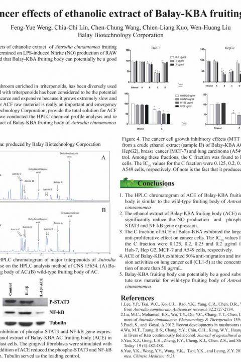 恩揚KBA牛樟芝子實體萃取物抗發炎與抗癌功效